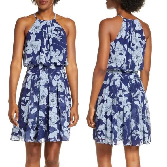 Eliza J Chiffon Floral Print Halter Dress Blue